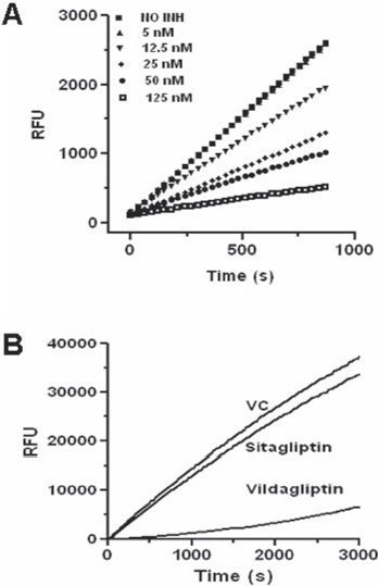 Figure 2 :(A) Fast binding nature of sitagliptin. Inhibition studies performed by the addition of enzyme to pre-incubated mixture of substrate and various concentrations of sitagliptin (0, 5, 12.5, 25, 50 and 125 nM fi nal); (B) Sitagliptin inhibition is reversible. The human recombinant DPP-IV (10 ng) pre-incubated without (VC) or with sitagliptin (500 nM) or vildagliptin (50 nM) diluted more than 100-fold into 0.5 mM H-Gly-Pro-AMC and the DPP-IV activity measured. Both A and B represent one experiment (n=3).