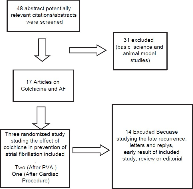 Figure 1: Selection process of studies included in the systematic review (AF = Atrial fibrillation; PVAI = Pulmonary vein antrum isolation). Search Criteria: (