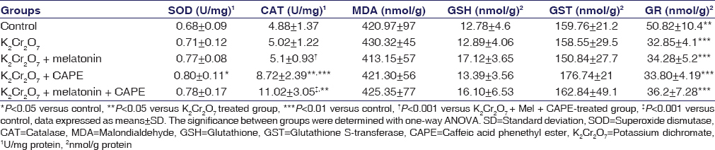 Table 3: Effects of melatonin and caffeic acid phenethyl ester on rat renal injury parameters
